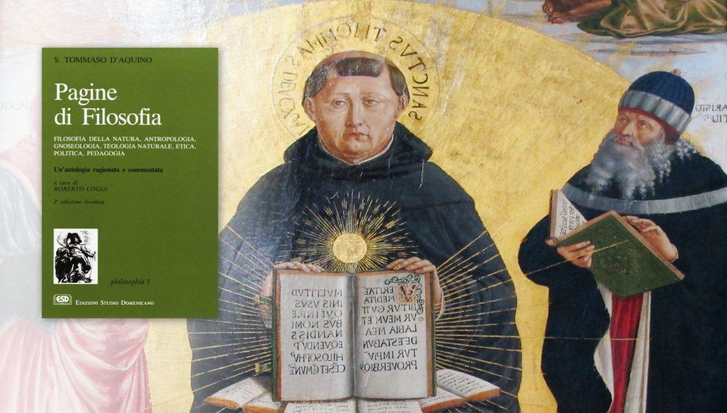 San Tommaso d'Aquino con Aristotele, e a sinistra la copertina del libro recensito